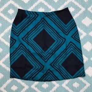 Banana Republic sz 4 Silk Skirt Blue Black